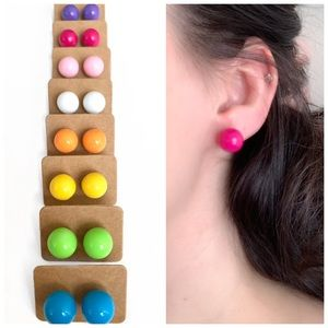 Bright Color Ball Stud Earrings